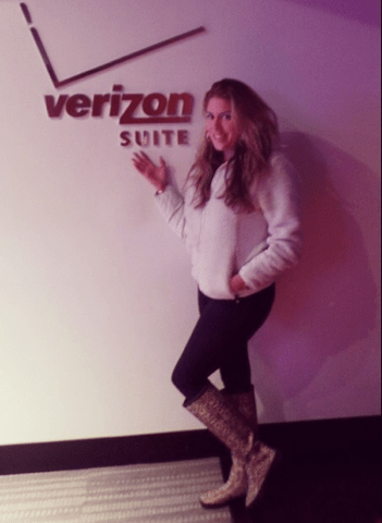 Lizza Monet Morales in the Verizon Suite at the LA KINGS game